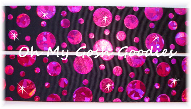 1.5 CRACKLE DOTS HOT PINK HOLOGRAM BLACK - 5 YARDS