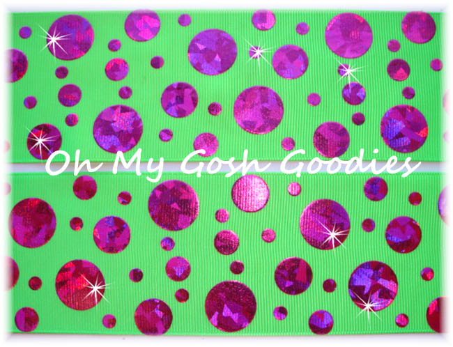 2 1/4 CRACKLE DOTS HOT PINK HOLOGRAM LIME - 5 YARDS