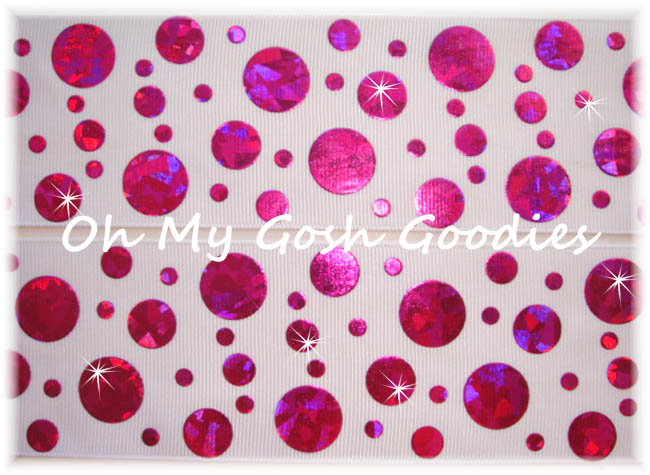 2 1/4 CRACKLE DOTS HOT PINK HOLOGRAM WHITE - 5 YARDS