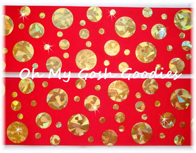 2 1/4 CRACKLE DOTS GOLD HOLOGRAM RED - 5 YARDS
