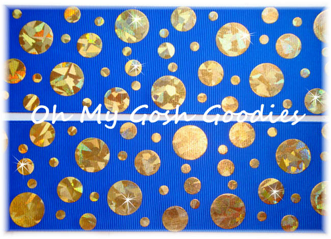 2 1/4 CRACKLE DOTS GOLD HOLOGRAM ROYAL - 5 YARDS