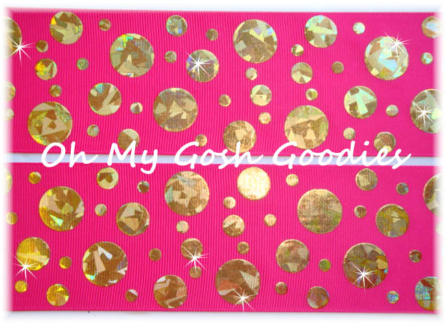 2 1/4 CRACKLE DOTS GOLD HOLOGRAM HOT PINK - 5 YARDS