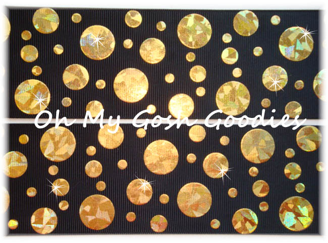 2 1/4 CRACKLE DOTS GOLD HOLOGRAM BLACK - 5 YARDS