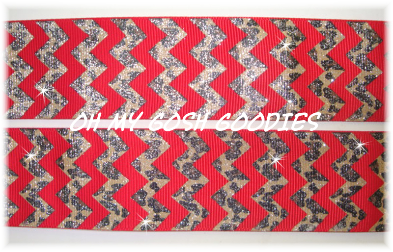 1.5 RED LEOPARD GLITTER CHEVRON - 5 YARDS