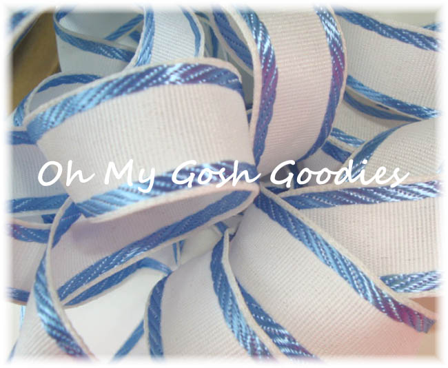 "1"" EASTER CLASSIC WHITE BLUE EDGE STRIPE WIRED - 5 YARDS"