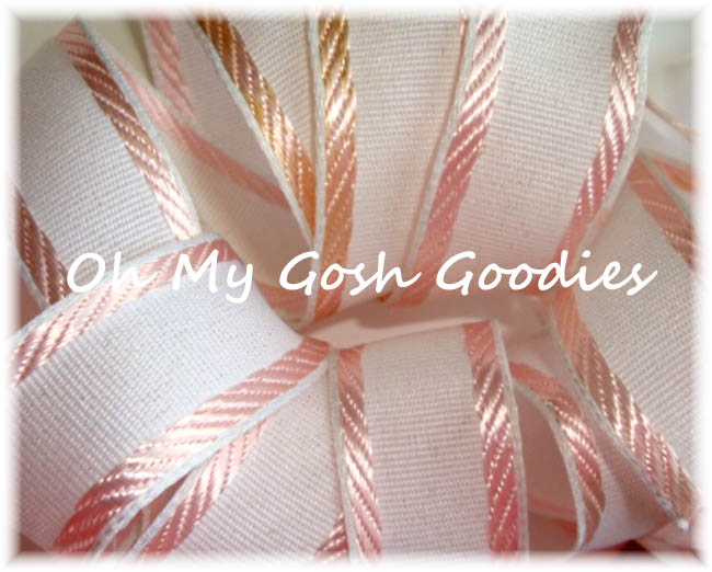 "1"" EASTER CLASSIC WHITE PINK EDGE STRIPE WIRED - 5 YARDS"