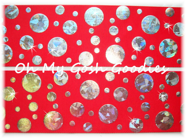 2 1/4 CRACKLE DOTS SILVER HOLOGRAM RED - 5 YARDS