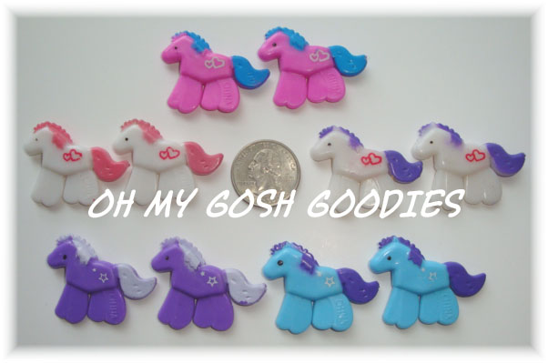 10PC PONY EMBELLISHMENTS - ASSORTED COLORS
