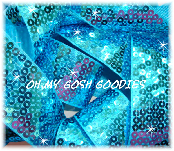 2 1/4 SHINY SEQUIN TURQUOISE - 50 YARD ROLL
