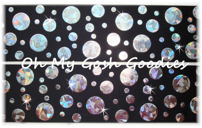 2 1/4 CRACKLE DOTS SILVER HOLOGRAM BLACK - 5 YARDS