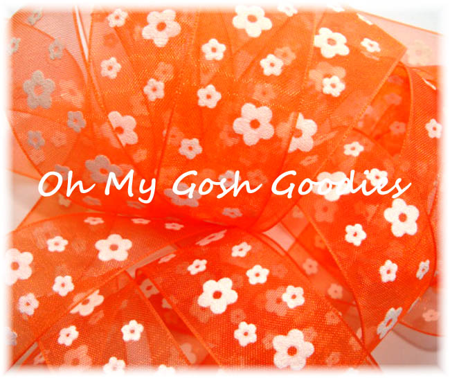 "1"" ORANGE SHEER FLOCKED DAISY - 5YD"