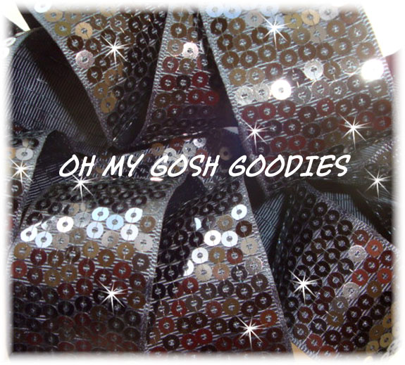 "3"" OOAK SHINY SEQUIN  BLACK  - 2 2/3 YARDS"