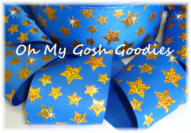 "3"" GOLD HOLOGRAM CHEER STARS ROYAL - 5 YARDS"