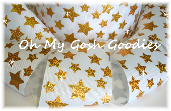 "3"" GOLD HOLOGRAM CHEER STARS WHITE - 5 YARDS"
