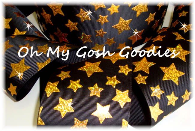"3"" GOLD HOLOGRAM CHEER STARS BLACK - 5 YARDS"