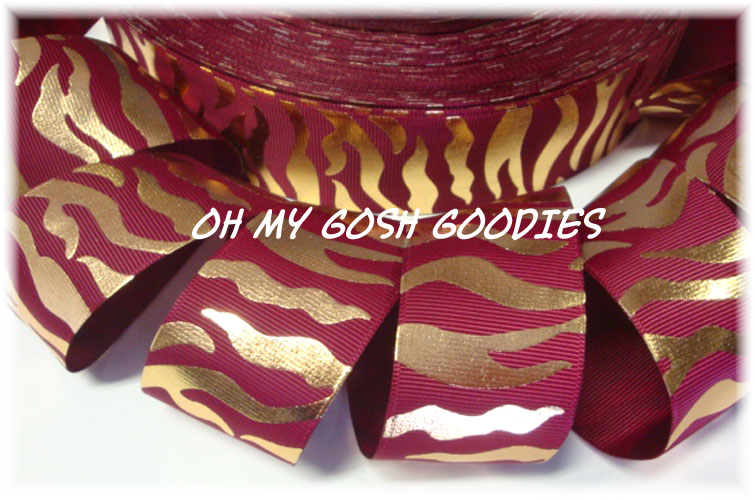 1.5 OOAK MAROON GOLD ZEBRA - 4 YARDS
