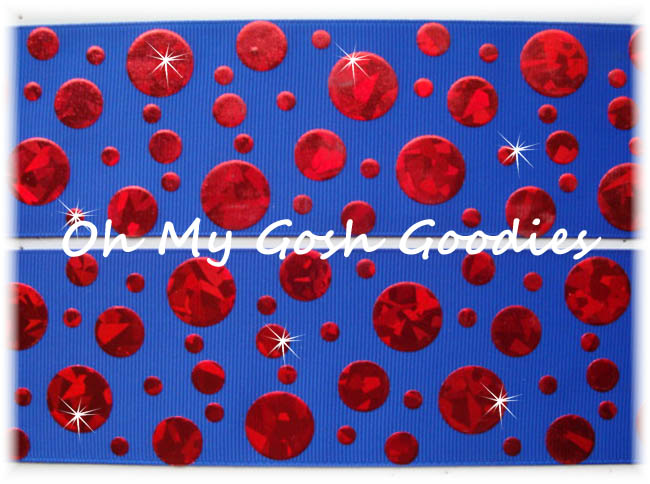 2 1/4 CRACKLE DOTS RED HOLOGRAM ROYAL - 5 YARDS