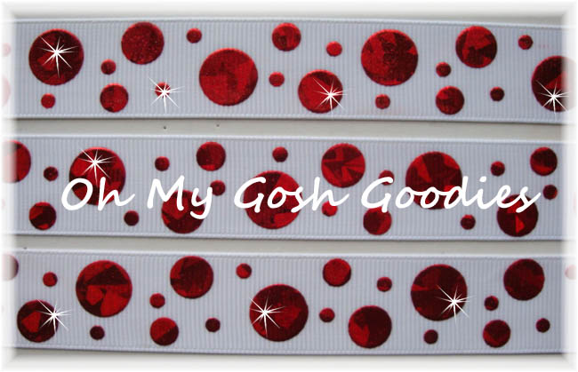 7/8 CRACKLE DOTS RED HOLOGRAM WHITE - 5 YARDS