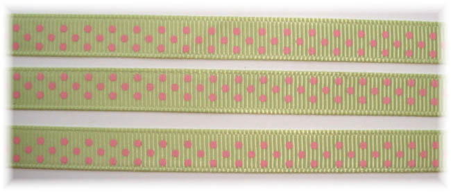 3/8 LIME JUICE PINK SWISS DOTS - 5 YARDS