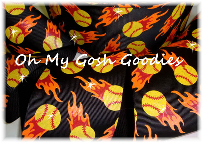 "3"" FLAMES SOFTBALL GLITTER BLACK - 5 YARDS"