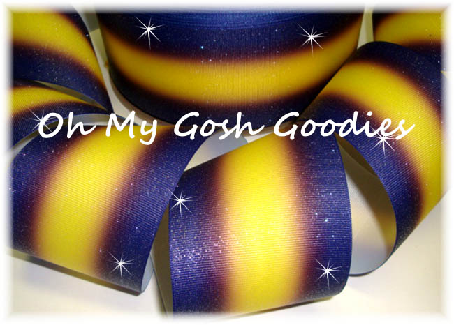 "3"" OOAK GLITTER DOUBLE OMBRE NAVY VIOLET YELLOW GOLD CHEER - 3 YARDS"