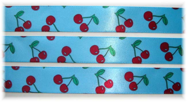 7/8 SALE BLUE RED CHERRY SATIN VENUS - 5 YARDS