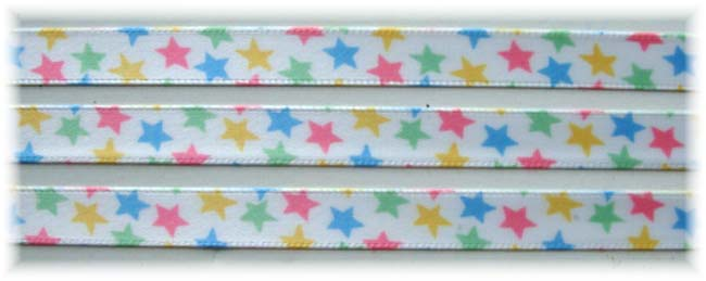 3/8 SALE PASTEL EASTER STARS OFFRAY - 10  YARDS