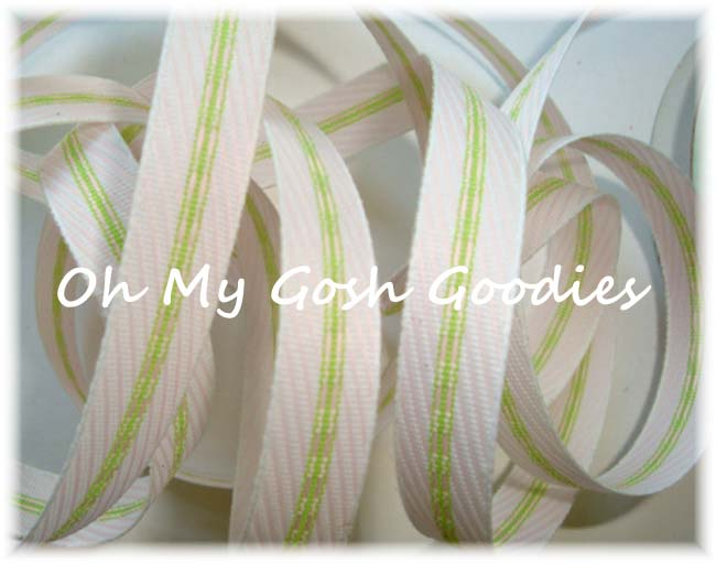 3/8 EASTER SPECIALTY PINK STRIPE RIBBON - 3 YARDS