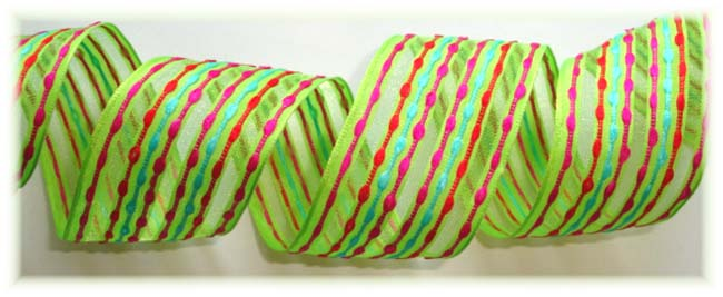 1.5 OOAK LIME FESTIVE WIRED STRIPE - 5 YARDS