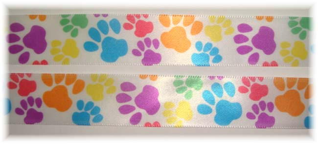 7/8 SATIN PUPPY PAWS WHITE - 3 YARDS