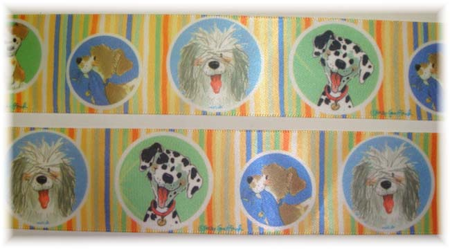 1.5 OFFRAY DOGS & PUPPIES SATIN - 3 YARDS