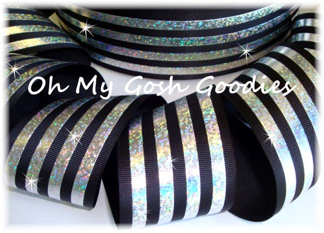 2 1/4 CLASSIC HOLOGRAM STRIPE BLACK SILVER - 5 YARDS