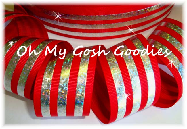 1.5 CLASSIC HOLOGRAM STRIPE RED SILVER - 5 YARDS
