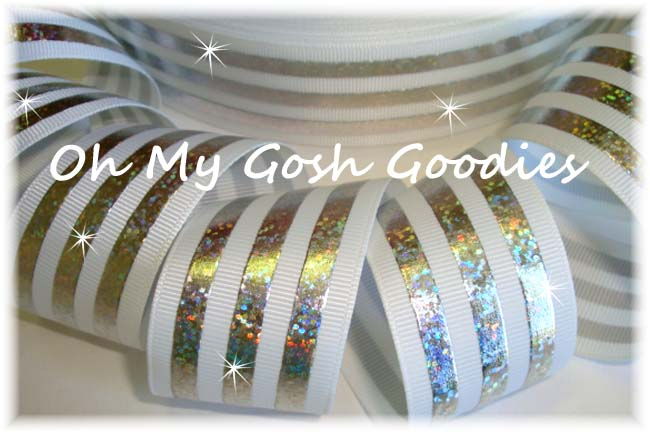 1.5 CLASSIC HOLOGRAM STRIPE WHITE SILVER - 5 YARDS