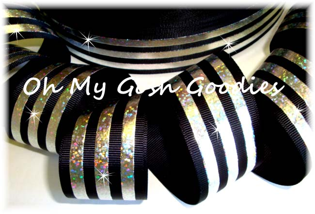 1.5 CLASSIC HOLOGRAM STRIPE BLACK SILVER - 5 YARDS