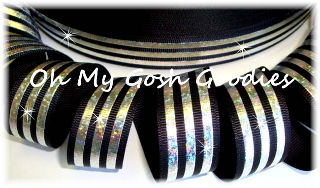7/8 CLASSIC HOLOGRAM STRIPE BLACK SILVER - 5 YARDS