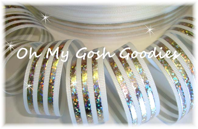 7/8 CLASSIC HOLOGRAM STRIPE WHITE SILVER - 5 YARDS