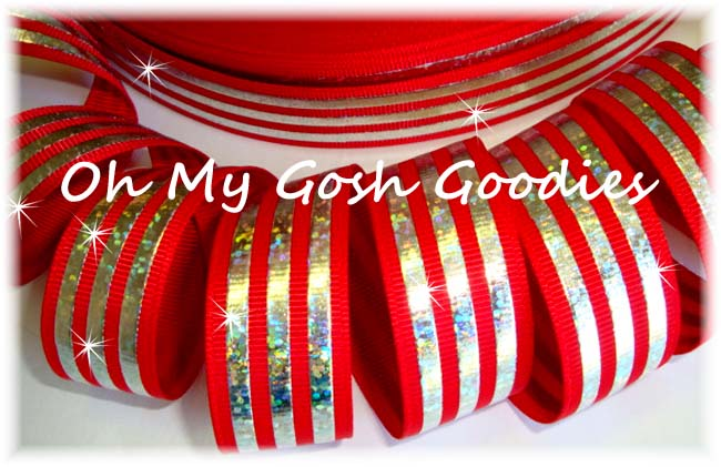 7/8 CLASSIC HOLOGRAM STRIPE RED SILVER - 5 YARDS