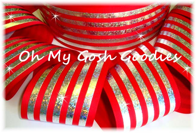 """3"""" CLASSIC HOLOGRAM STRIPE RED SILVER - 5 YARDS"""