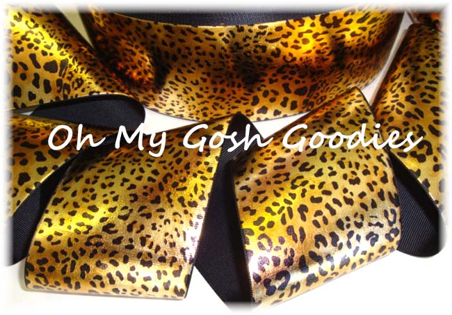 "3"" FOIL METALLIC SAFARI LEOPARD CHEER TIC TOC  - 5 YARDS"