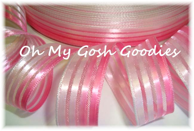 7/8 PINK OMBRE SHEER STRIPE OFFRAY  - 5 YARDS