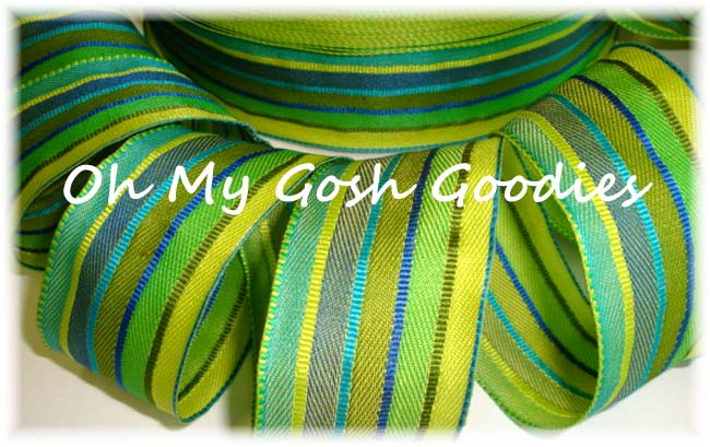 1.5 NAVY LIME YELLOW STRIPE WIRED - 5 YARDS