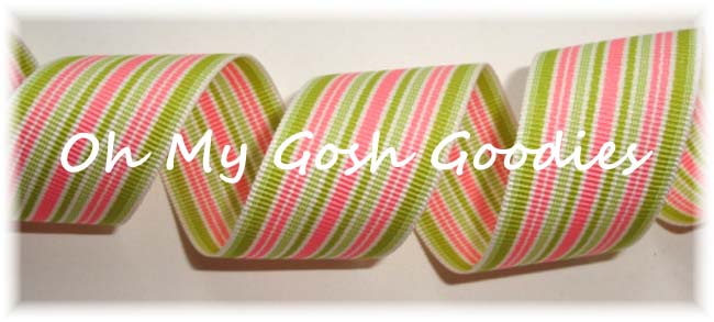 7/8 PREPPY STRIPE PINK LIME - 5 YARDS