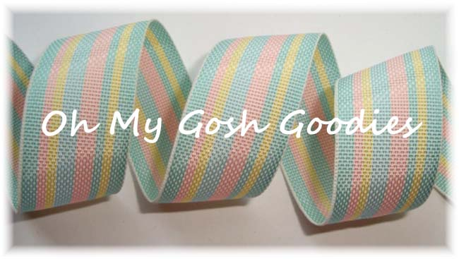7/8 EASTER STRIPE BLUE PINK YELLOW - 5 YARDS