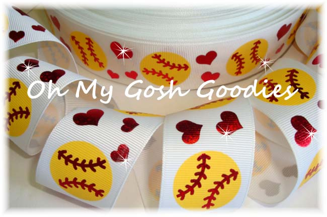 1.5 FIERCE SOFTBALL HOLOGRAM HEARTS - 5 YARDS