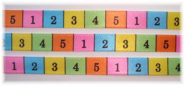 3/8 NUMBERS OFFRAY SATIN RIBBON - 5 YARDS