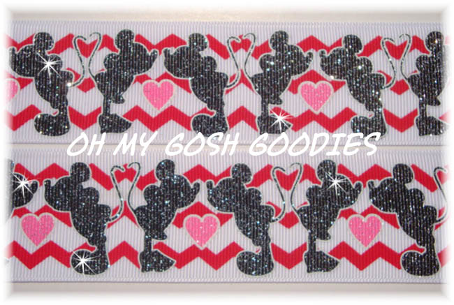 1.5 KISSING VALENTINE GLITTER CHEVRON - 5 YARDS