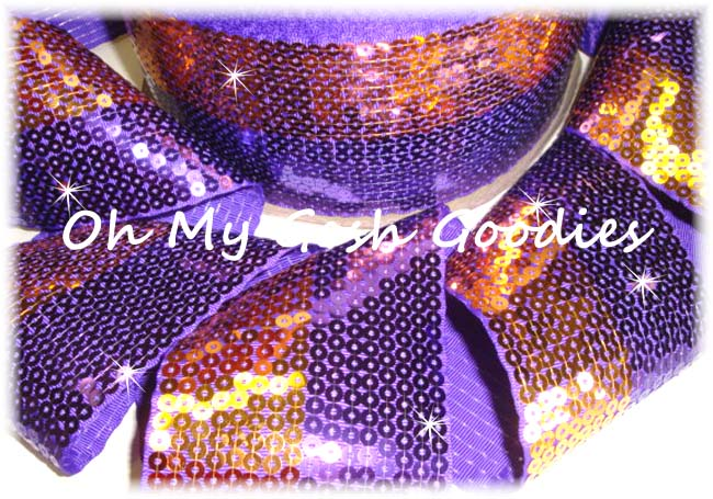 "3"" DUAL STRIPE SHINY SEQUIN GOLD PURPLE  - 5 YARDS"
