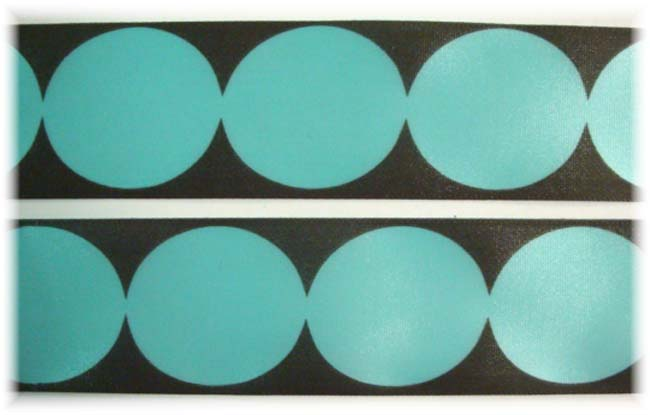 1.5 OFFRAY TURQUOISE BROWN ROUNDABOUT DOTS - 5 YARDS