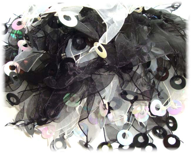 2PC PONY-O BLACK WHITE SPANGLE EMBELLISHMENTS PS28